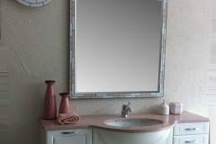 SPECCHIO MOD. F9 GRANDE+faretto M2 e plafoniera Nettuno bianco-rosa portogallo